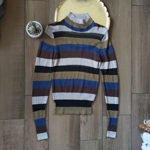 Urban Outfitters Striped Turleneck Crop Sweater M
